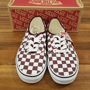 Vans authentic checkerboard burgandy and white